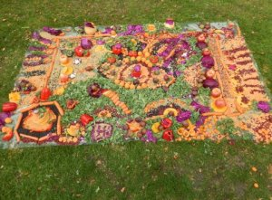 A garden square made in fruit and veg art