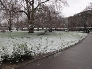 Footprints in the snow, Brunswick Square