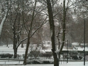 Brunswick Square under snow on 20 Jan 2013 by Susannah