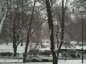 Brunswick Square under snow on 20 Jan 2013 by Susannah